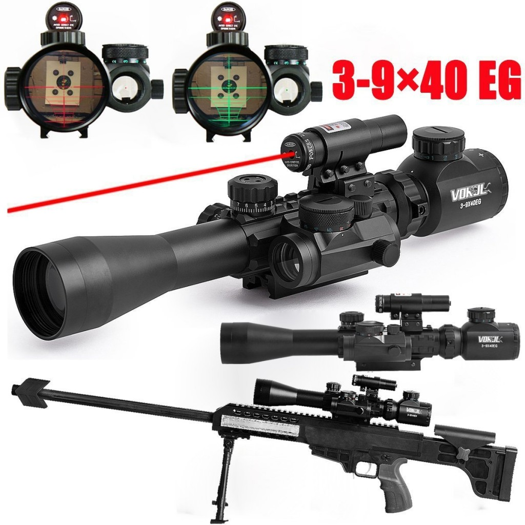 Vokul Tactical 3-9x40mm Illuminated Rifle Scope with Red Laser & Red Dot Sight